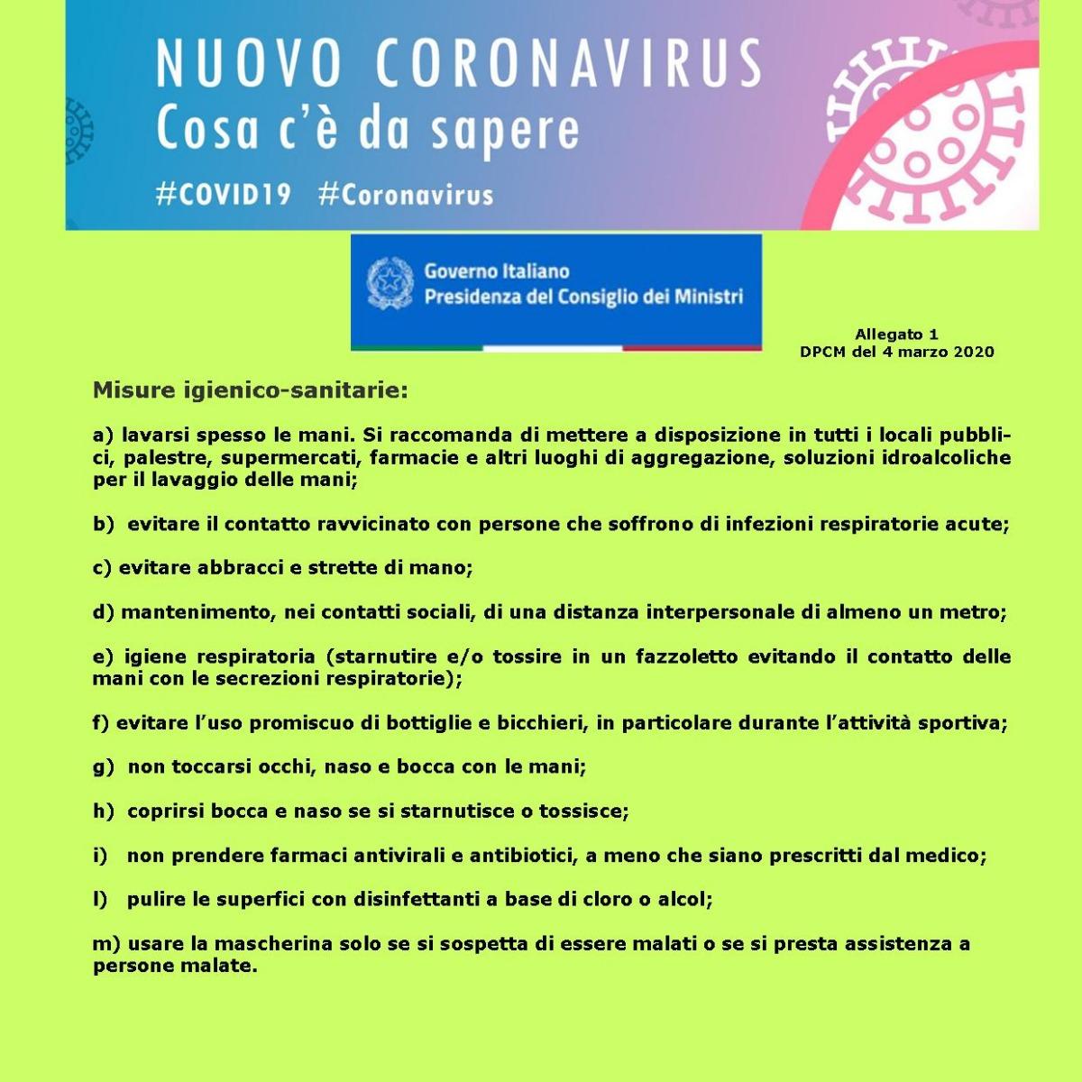 COVID 19 -Misure igienico-sanitarie